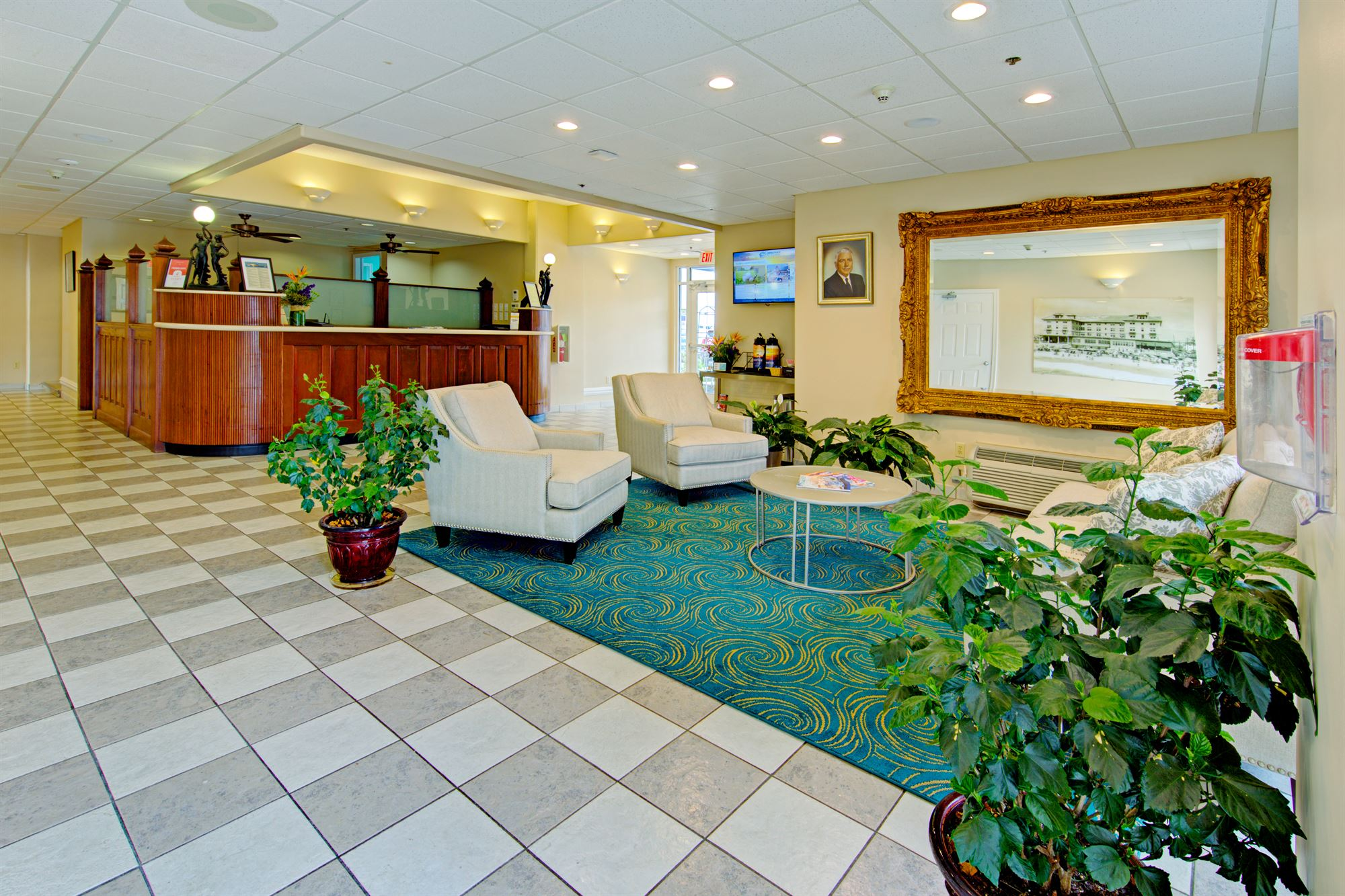 Lobby of the Commander Hotel in Ocean City, Maryland.
